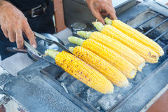 Sweet corn on a grill Royalty Free Stock Image
