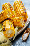 Sweet corn grilled with sea salt. Stock Image
