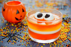 Sweet corn jelly with marshmallow eyes - fun food Halloween reci Royalty Free Stock Images