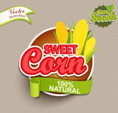 Sweet corn logo. Sweet Corn logo lettering typography food label or sticker. Concept for farmers market, organic food, natural product design.Vector Royalty Free Stock Image