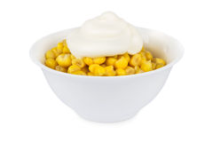 Sweet corn with mayonnaise in bowl Stock Images