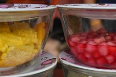 Sweet corn and Mock Pomegranate in Coconut Syrup stock photo