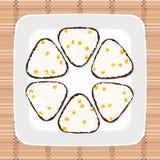 Sweet corn onigiri. Japanese cuisine. Vegetarian. Sweet corn onigiri. Japanese cuisine. Triangle rice balls wrapped with nori seaweed. Illustration. Lunch Royalty Free Stock Photos