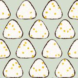 Sweet corn onigiri. Seamless pattern. Asian snack. Japanese rice ball background. Lunch texture. Triangle rice balls wrapped with nori seaweed. For decoration Royalty Free Stock Images