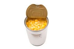 Sweet Corn In With Open Lid Tin Can III Stock Photo