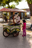Sweet Corn Seller In Bright Summer Day. A typical view pertain to Turkey. Sweet boiled corn sellers with their mobile stalls is something you can see everywhere Royalty Free Stock Photography