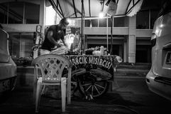 Sweet Corn Seller At Night. A typical view pertain to Turkey. Sweet boiled corn sellers with their mobile stalls is something you can see everywhere in Cinarcik Royalty Free Stock Photography