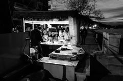 Sweet Corn Seller At Night. A typical view pertain to Turkey. Sweet boiled corn sellers with their mobile stalls is something you can see everywhere in Cinarcik royalty free stock photo