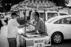 Sweet Corn Seller. A typical view pertain to Turkey. Sweet boiled corn sellers with their mobile stalls is something you can see everywhere in Cinarcik town Stock Images