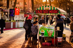 Sweet Corn Seller. A typical view pertain to Turkey. Sweet boiled corn sellers with their mobile stalls is something you can see everywhere in Cinarcik town royalty free stock photography