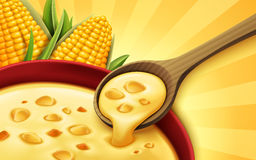 Sweet corn soup. Corn soup 3d illustration, can be used as design elements Royalty Free Stock Images