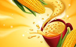 Sweet corn soup. Corn soup 3d illustration with special effect, can be used as design elements Stock Photos