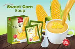 Sweet corn soup Vector realistic. Product placement mock up. 3d illustrations. Sweet corn soup Vector realistic. Product placement mock up. 3d illustration royalty free illustration