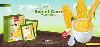 Sweet corn soup Vector realistic. Product placement mock up. Green fields background. 3d illustrations. Sweet corn soup Vector realistic. Product placement mock vector illustration
