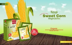 Sweet corn soup Vector realistic. Product placement mock up. Green fields background. 3d illustrations. Sweet corn soup Vector realistic. Product placement mock royalty free illustration