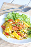 Sweet corn spicy salad Royalty Free Stock Image