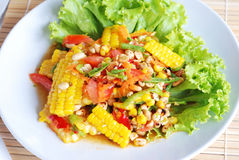 Sweet corn spicy salad Stock Photo