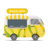 Sweet corn street food vector caravan trailer. Sweet corn street food caravan trailer. Colorful vector illustration, cute style, isolated on white background Stock Photography