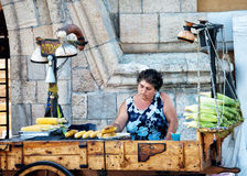 Sweet corn street vendor in Rhodes Greece Royalty Free Stock Photography
