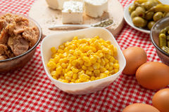 Sweet corn on the table Royalty Free Stock Photos