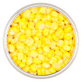 Sweet Corn. Top view of canned sweet corn kernels in a circular metal can. Isolated on white Royalty Free Stock Photo