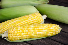 Sweet corn. With wood table background Stock Photo