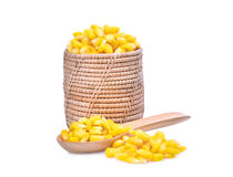 Sweet corn in wooden basket and spoon isolated on white Royalty Free Stock Photography