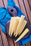 Sweet corn. Corn on the wooden board Stock Photos