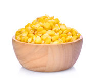 Sweet corn in wooden bowl  on white Royalty Free Stock Photography