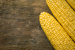 Sweet corn on wooden table Royalty Free Stock Image