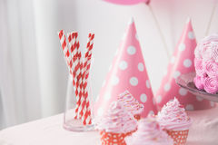 Sweet corner of a birthday party Stock Photography