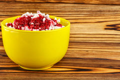 Sweet cottage cheese dessert with raspberry jam in ceramic bowl on wooden table, space for text. Sweet natural cottage cheese dessert with raspberry jam in Stock Photography