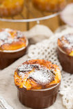 Sweet cottage cheese souffle with raisins for dessert Royalty Free Stock Photography