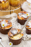 Sweet cottage cheese souffle with raisins for dessert Stock Photos