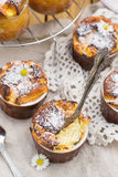 Sweet cottage cheese souffle with raisins for dessert Stock Image