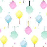 Sweet cotton candy pattern. Cute food texture. Dessert kids decoration with light pink, mint, blue and yellow sugar. Clouds.Soft pastel fluffy print royalty free illustration