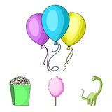 Sweet cotton wool on a stick, a toy dragon, popcorn in a box, colorful balloons on a string. Amusement park set royalty free illustration