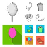 Sweet cotton wool on a stick, a toy dragon, popcorn in a box, colorful balloons on a string. Amusement park set Royalty Free Stock Photos