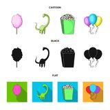Sweet cotton wool on a stick, a toy dragon, popcorn in a box, colorful balloons on a string. Amusement park set. Collection icons in cartoon,black,flat style royalty free illustration