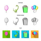 Sweet cotton wool on a stick, a toy dragon, popcorn in a box, colorful balloons on a string. Amusement park set. Collection icons in cartoon,flat,monochrome stock illustration