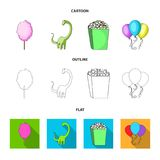 Sweet cotton wool on a stick, a toy dragon, popcorn in a box, colorful balloons on a string. Amusement park set. Collection icons in cartoon,outline,flat style stock illustration