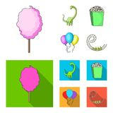 Sweet cotton wool on a stick, a toy dragon, popcorn in a box, colorful balloons on a string. Amusement park set. Collection icons in cartoon,flat style vector royalty free illustration