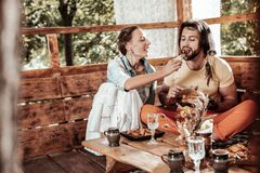 Attractive man and woman having lunch together
