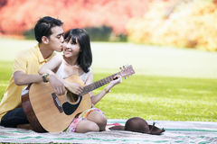 Sweet couple in autumn day Stock Images