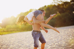 Sweet couple on the beach Stock Photography