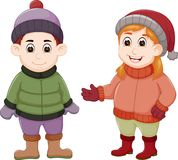 Sweet couple cartoon standing with smile Royalty Free Stock Photo