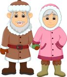 Sweet couple cartoon use cold clothes. Pict of sweet couple cartoon use cold clothes Royalty Free Stock Photos