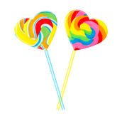 Sweet couple - colourful lollipop hearts Royalty Free Stock Photography