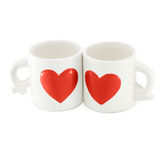 Sweet couple cups.lovely white ceramic cups for lovers Stock Photos