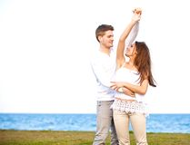 Sweet Couple Dancing Together Outdoors Royalty Free Stock Images